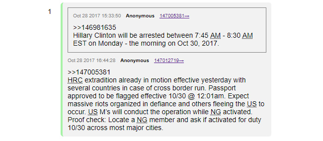 83b8c8e88c8993 Evidently, October 30th came and went, and none of this happened. This did  not stop Q from adding hundreds of additional posts in the following months.